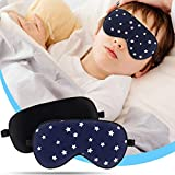 2 Pack Lonfrote Children Eye Mask Smooth Blindford for Travel Relax Supper Soft Natural Silk Sleep Mask for Kids Sleeping (Black & Blue Star)