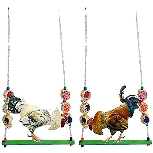 Syijupo 2 Stück Hühnerschaukel - Große Papageienschaukel Hühnerschaukel aus Natürlichem Holz wellensittich schaukel,für Verschiedene Hühner Papageien Aras und große Vögel