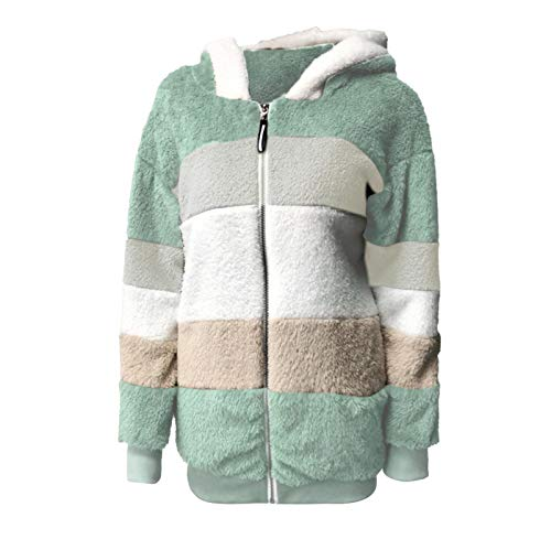 OutTop Sherpa Jacket Women Fall Winter Plush Warm Hooded Stripe Color Block Thicken Warm Fleece Coats Parka Outwear (Green, XXXL)