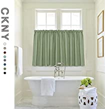 jinchan Water-Proof Waffle-Weave Textured Tier Curtains for Kitchen Window Curtains for Bathroom Shower Window Curtain 72-inch x 36-inch Sage Two Panels