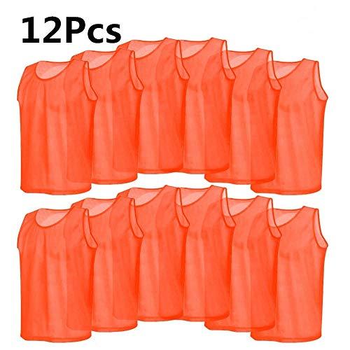 Jadeshay Training Bibs-12 Pack Mesh Scrimmage Trainingswesten Fußballweste Atmungsaktiv Erwachsene Trikots Lätzchen, Orange