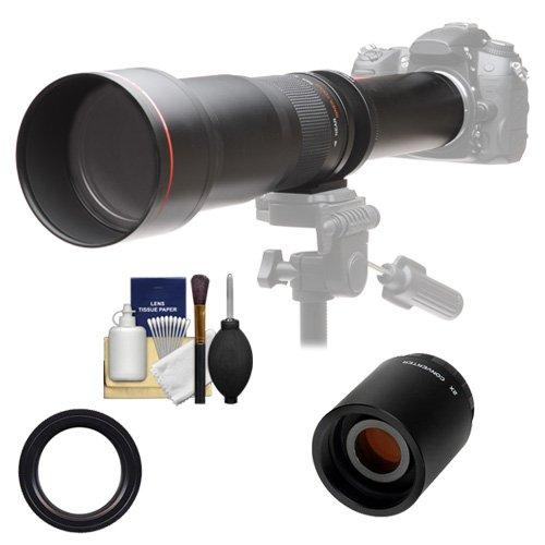 Vivitar 650-1300mm f/8-16 Telephoto Lens with 2X Teleconverter (=2600mm) Kit for Canon EOS Rebel SL1, T3, T3i, T5, T5i, 70D, 6D, 7D 5D Mark II III Cameras