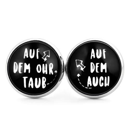SCHMUCKZUCKER Damen Herren Unixex Ohrstecker Spruch Motiv Auf dem Ohr taub Witzige Edelstahl Ohrringe Silber Schwarz 14mm