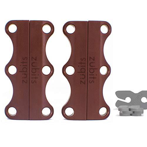 zubits® - Magnetische Schuhbinder/Magnetverschlüsse für Schuhe - Größe #2 Jugendliche und Erwachsene in braun