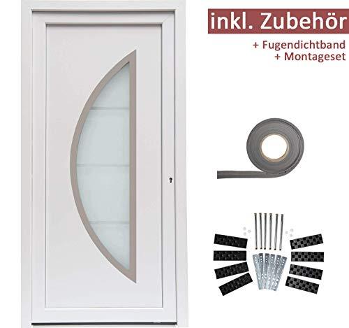kuporta Kunststoff Haustür Ramos Türen 98 x 200 cm DIN rechts weiß Montageset Fugendichtband
