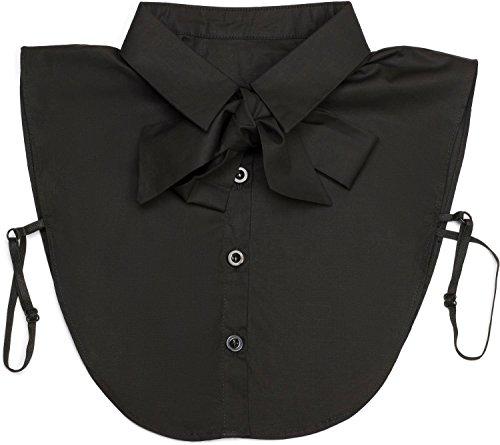 styleBREAKER Damen Blusenkragen Einsatz mit Knopfleiste und Schleife, Kragen für Blusen und Pullover, Schluppenbluse 08020003, Farbe:Schwarz