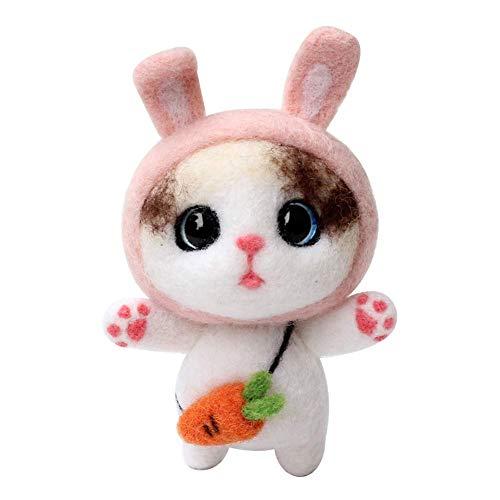YXQSED Filzwolle Werzeug Kit für Nassfilzen und Trockenfilzen DIY Stricksets Niedlicher Puppe Kaninchen