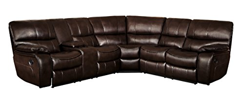 Homelegance Pecos 105' x 95' Leather Gel Manual Reclining Sectional Sofa, Brown
