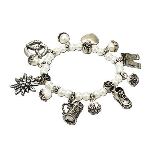 Alpenflüstern Perlen-Trachten-Armband Trachtenzauber - Damen-Trachtenschmuck, elastische Trachten-Armkette mit Anhängern, Perlenarmband Creme-weiß DAB041