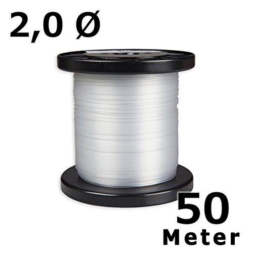hang-it Perlonseil 50 m Rolle glasklar - 2 mm Ø - Bilderschienen Galerieschienen Zubehör