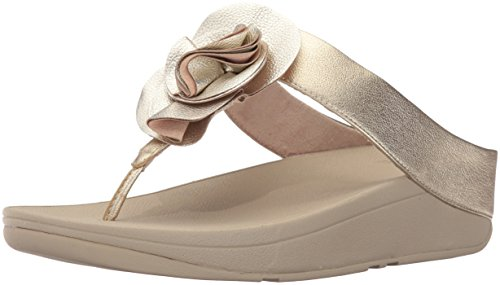 FitFlop Women's Florrie Toe-Thong Sandal, Pale Gold, 9 M US