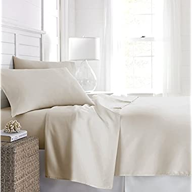 Beckham Hotel Collection 1500 Series Luxury Soft Brushed Microfiber Bed Sheet Set Deep Pocket - Queen - Eggshell Cream