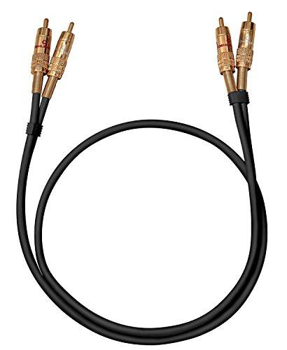 Oehlbach NF 1 Master 100 - Hervorragendes analoges Stereo Audio-Cinchkabel - 2X Cinch/2x Cinch, Vollmetallstecker, Schirmung - 1 m - schwarz