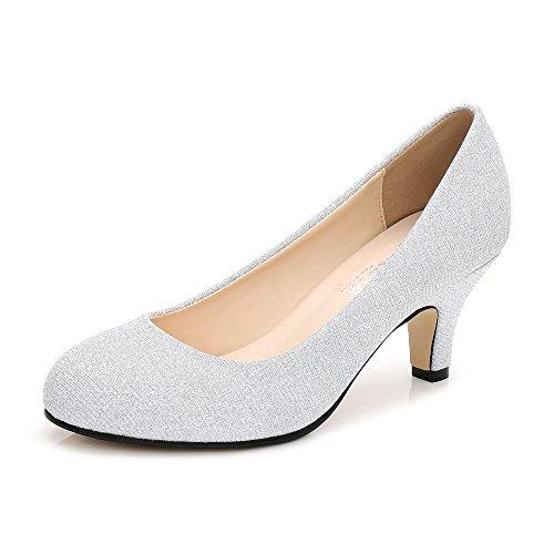 OCHENTA Damen Runde Zehen Kitten Heel Kleid Arbeit Party Pumps, Silber - Silber Glitter - Größe: 43 EU