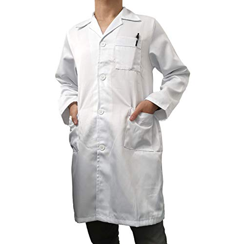 Kiz Kiz Bata de Laboratorio Manga Larga Blanca Abrigo Médico Doctoras Científico Uniforme Sanitario Unisex Hombre Y Mujer Uniforme Hospitalario Disfraz de Doctor Enfermera (XXXL)