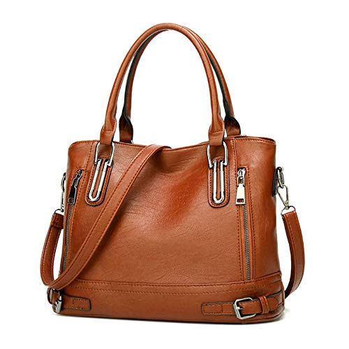 Damen Handtasche Leder Henkeltasche Top Griff Tasche Vintage Weiches Umhängetasche Schultertasche für Frauen (Orange Braun b)