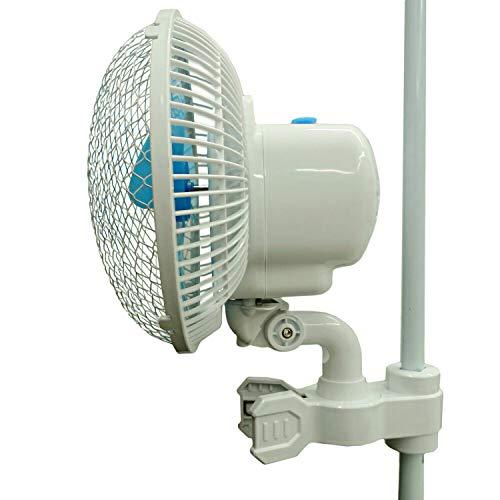 Ventilator mit Schwenkfunktion & Clip Halter oszillierend 2 Geschwindigkeiten für Stangen 16mm Ø für Grow Box Zelt