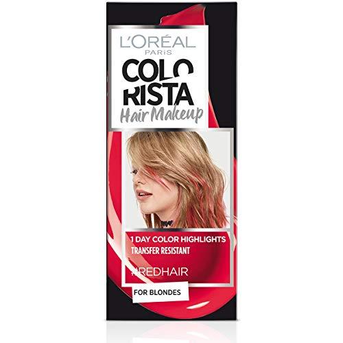 L'Oréal Paris Colorista Hair Makeup Colorazione Temporanea 1 Giorno per Ciocche e Punte, Tinta per Capelli Biondi, Meches Rosso, 30 ml