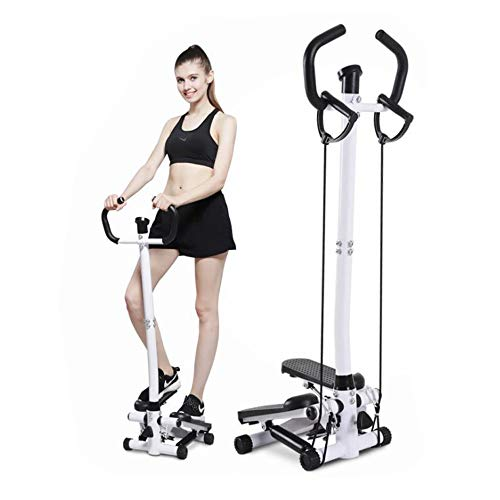 Step Fitness Machine, Mini Fitness Stair Stepper Air Climber Hydraulic Mute Step Machine Exercise Equipment with Handle Bar Resistance Bands &LCD Monitor (with Handle Bar) by OHYH
