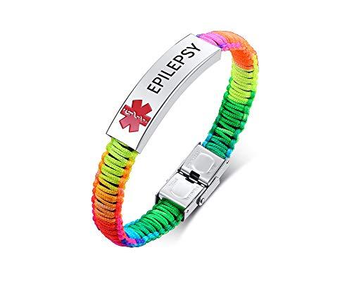 VNOX Medical Alert Emergency Jewelry-Epilepsy Braided Nylon Colorful Rope Cuff Bangle Bracelet for Men Women