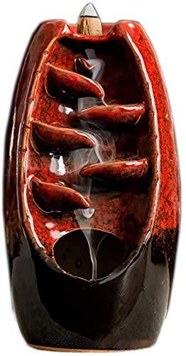 ZSW Quemador de incienso de flujo inverso, efecto quemador de incienso y retorno de humo, decoración del hogar, decoración de aromaterapia, con 70 varillas de incienso, color negro mate (rojo) y rojo