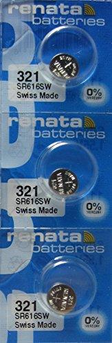 Renata Watch Battery 321 0%Hg Mercury Free X 3