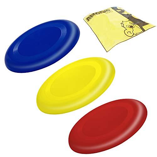 Partituki Pack de 3 Discos Voladores para Niños Muy Fáciles de Sujetar. Mucho más Seguros Que los Frisbees Estándar. Anillos Voladores. Colores: Azul, Rojo y Amarillo.