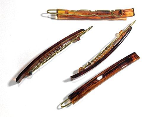 niavida 8 x Haarspange havanna-braun 6 cm mit Haarclip-Verschluss klassisch Haarklemme Haarklammer