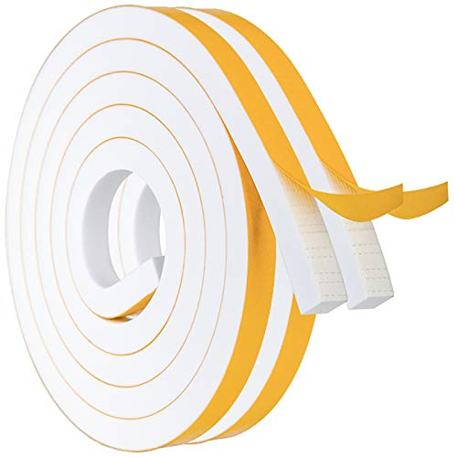 Foam Strips with Adhesive High Density Weather Stripping Neoprene Foam Tape for Doors Windows Insulation, 1/2