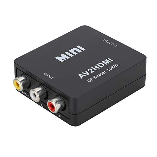 Surebuy Convertidor de Video 1080P de Alta compatibilidad USB Duradero Convertidor Mini AV a HDMI para TV(Negro)