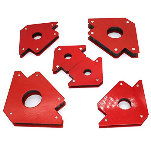 6 Pcs Arrow Welding Magnet, Welding Magnet Set for Metal Working 25, 50, and 75 Lbs Strength Magnetic Welding Holder, 45,90,135,180Degree Angle Fits for welding, soldering, assembling
