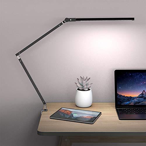 Schreibtischlampe LED dimmbar mit Fernbedienung, brightower tischlampe tageslicht klemmbar, 9W 3000K-6000K,Lampenkopf kann um 360 ° gedreht und ausgetauscht werden
