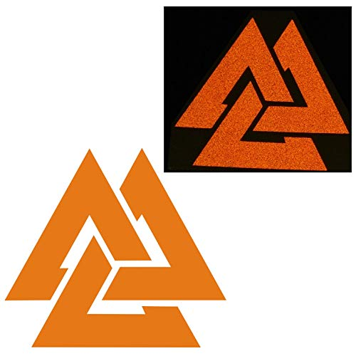 CUSHYSTORE 3' Valknut Triangle Knot Rings Runes Celtic Reflective Decals Stickers Orange, 2 Pack