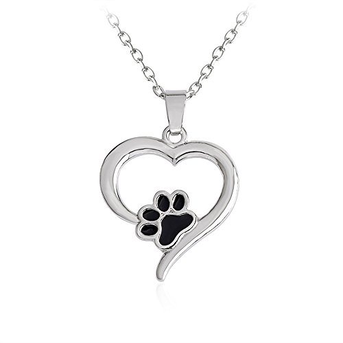 Meiligo Retro You Left paw Prints on My Heart Letter Pet Dog paw Charm Tag Necklace Owner and Dog Jewelry Matching Pet Collar Necklace Pendant Silver