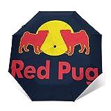 Redpug Redbull Logo Parodie Winddicht, kompakt, automatisch, faltbar, Reise-Sonnenschirm