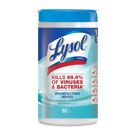 Lysol Disinfecting Wipes, Ocean Fresh, 160ct (2X80ct) (4 pack(160 Wipes))