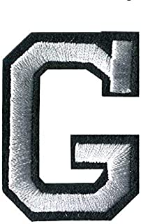 G-White on Black Monogram Letter Patch Appliqued Embroidery Iron/Sew On Badge DIY Decorate for Jackets,Hats,Pants,Shoes