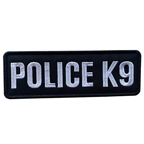 uuKen Embroidery Fabric Cloth Police K9 Unit Embroidered Military Tactical Patch 6x2 inches with Hook Fastener Back for Tactical Vest or Harness (Black and White, 6'x2')