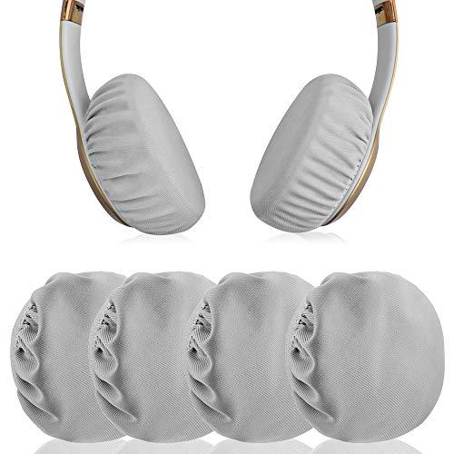 Geekria Ohrpolster, flexibel, dehnbar und waschbar, für sanitäre Ohrmuscheln geeignet, geeignet für 3,5-8,3 cm On-Ear-Pad, wie Solo3 gut für Fitnessstudio, Training (grau, 2 Paar)