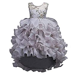 Gray Ruffles Lace Party Dress With Sequins