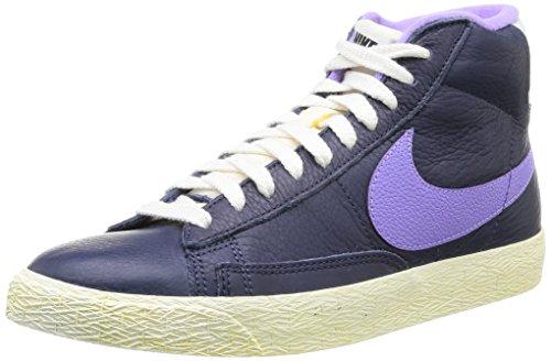 Nike, WMNS Blazer MID LTHR VNTG, Scarpe sportive, Donna, Blu (Midnight Navy/AtomicViolet), 36