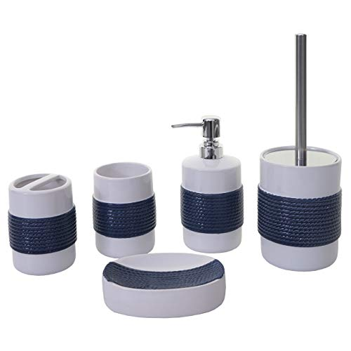 Mendler 5-teiliges Badset HWC-C73, WC-Garnitur Badezimmerset Badaccessoires, Keramik ~ blau/weiß