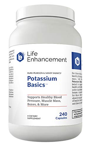 Life Enhancement Potassium Basics | Supports Healthy Blood Pressure, Bones, Muscle Mass, and More | 1020 mg Potassium Bicarbonate | 120 Servings