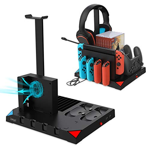 Cooling Charging Dock Compatible with Nintendo Switch Controller and for JoyCons with Cooling Fan, Multifunctional Charging Station Stand for Nintendo Switch and Headphone Storage Accessories