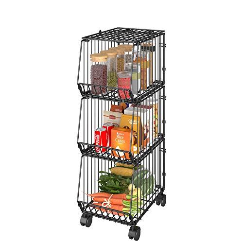 Apsan Wire Storage Basket with Wheels 3 Tier Utility Cart Fruit Basket Kitchen Storage Basket Bin 122 L x 1023 W x 2755H Black