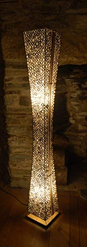 Unusual Floor Standing lamp from Bali - Hand Made from Bamboo Rings and Fabric - 1.5 metres Tall