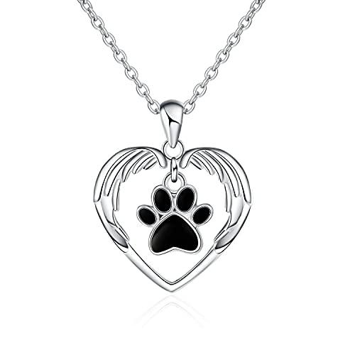 Kkoqmw 100% Plata de Ley 925 Lindo Animal Amor Corazón Perro Huella Cadena Colgante Collar Joyería DIY