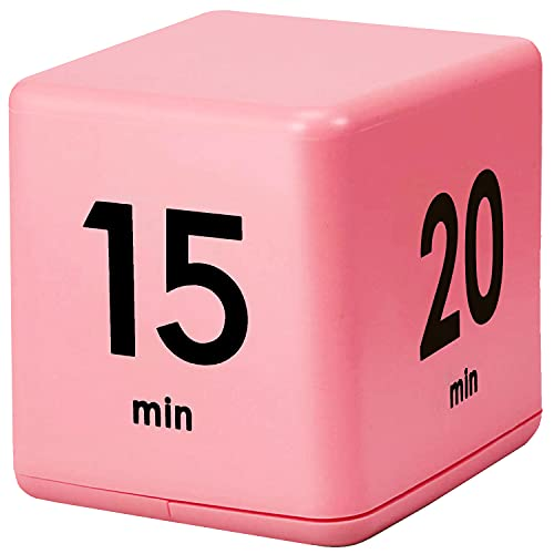 LZTGFT Kitchen Cube Timer, 15-20-30-60 Minutes for Time Management, Gravity Sensor flip Timer for Exercise, Work, Yoga, Study and Game etc (Pink)