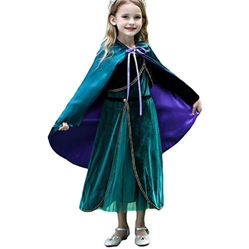 AIYIMEI Mädchen Eiskönigin 2 Prinzessin Anna Kostüm Kinder Schneekönigin Halloween Weihnachten Geburtstag Party Krönungskleid- Geschenke für Mädchen 3-11 Jahre