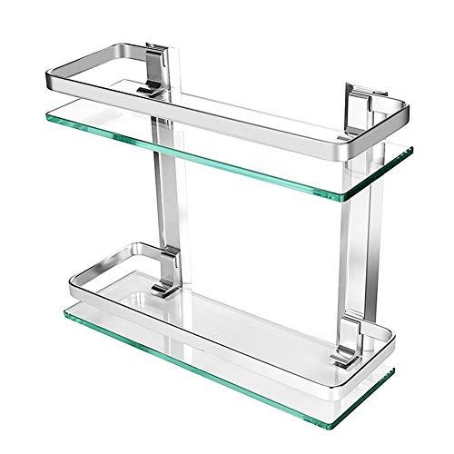 JanTeelGO Dusche Caddy Bad Korb Ablage, Dick gehärtetem Glas Aluminium Wand montiert Badezimmer Regal Rack Küche Aufbewahrung Regal, Glas (2-Tier)